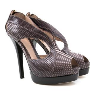 Fendi Brown Snakeskin Peep Toe Platforms