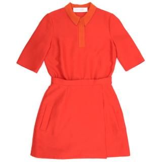 Victoria Beckham Red Collared Dress