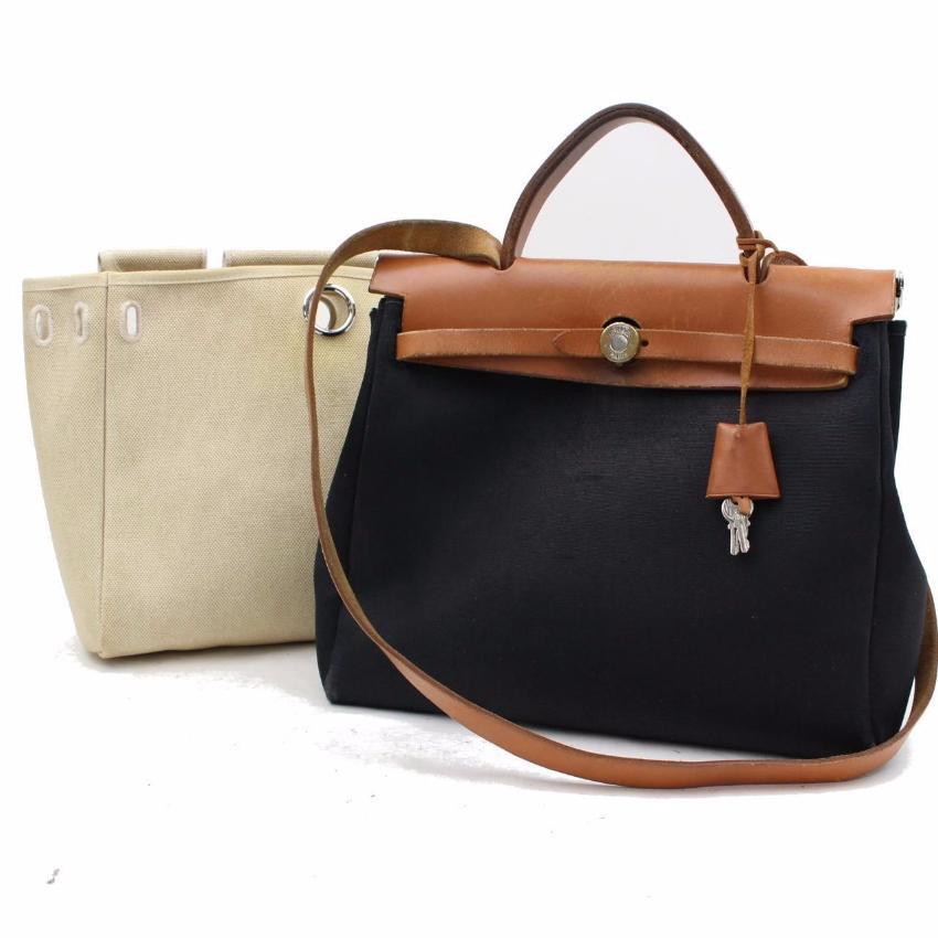 2083bcc1e4ae Hermes Herbag Biege And Black Canvas Shoulder Bag