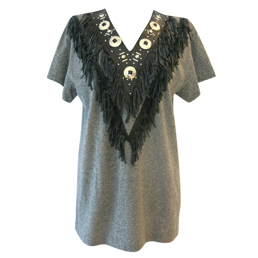 Toga Pulla Grey Western Top with Silver Hardware and Leather Fringing