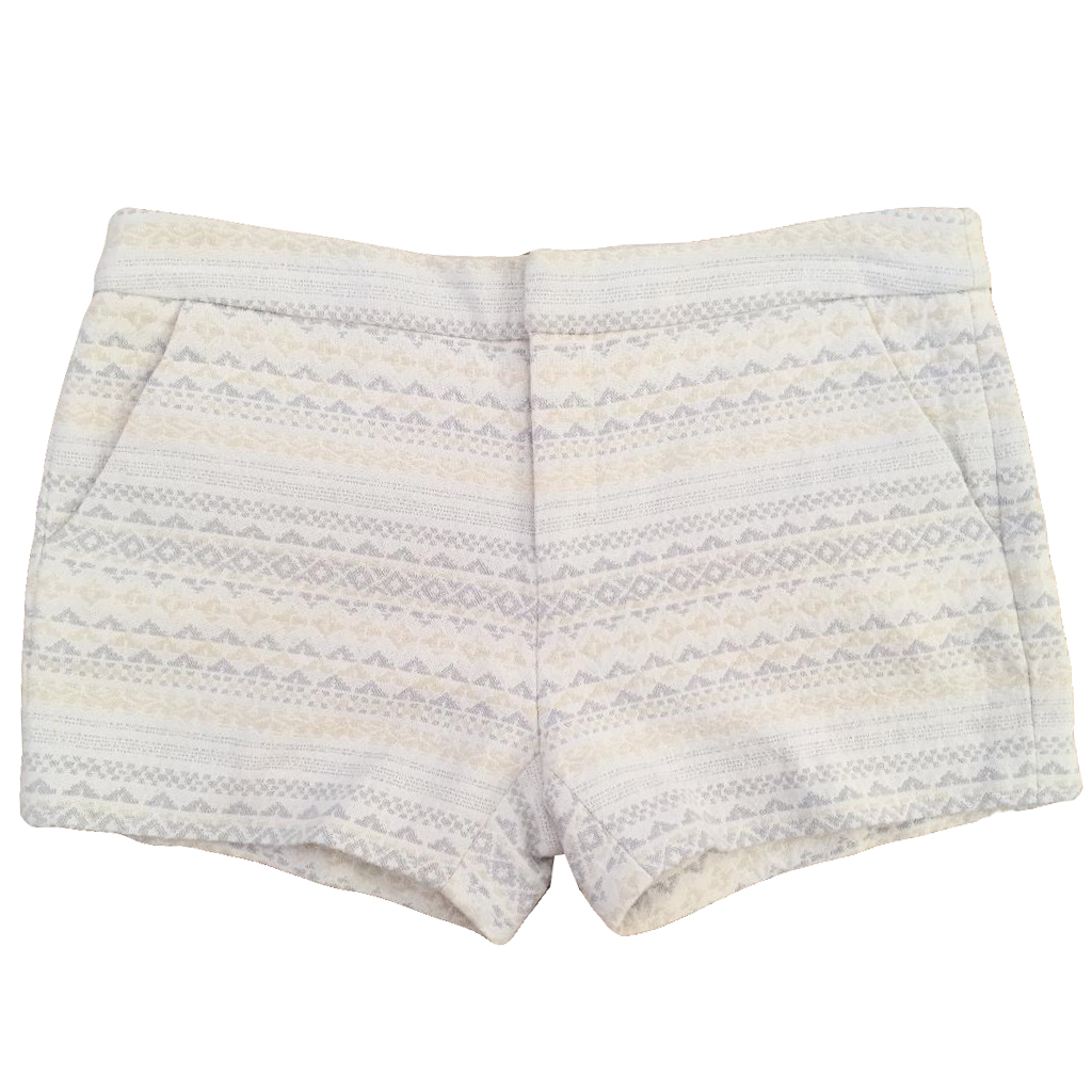 JOIE Merci jacquard cream, beige & pale grey patterned shorts