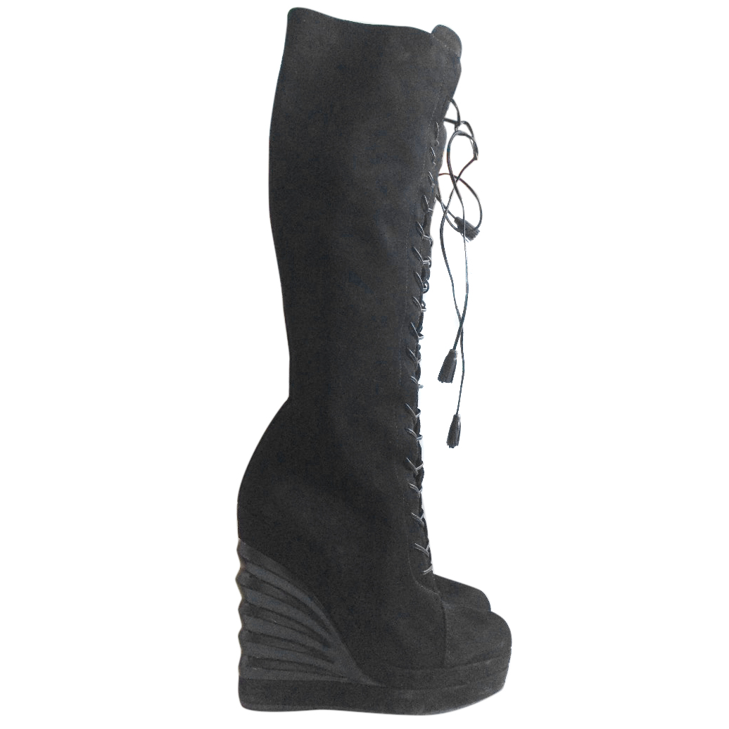 0f1da134 Yves Saint Laurent Long Black Lace-Up Wedge Boots