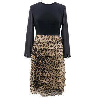 Moschino Cheap and Chic Leopard Ruffle Dress