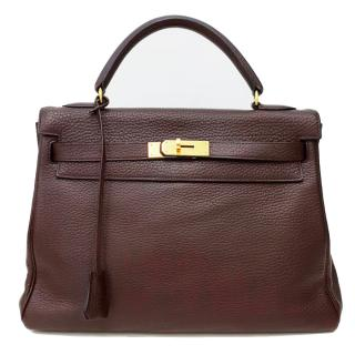 Hermes Kelly Chocolate Clemence Retourne 32 with gold hardware