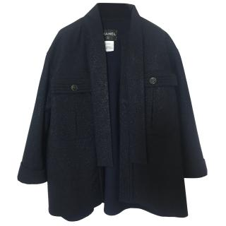 Chanel Metallic Navy Coat.