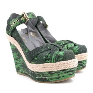 Mulberry Green and Black Patterned Wedges