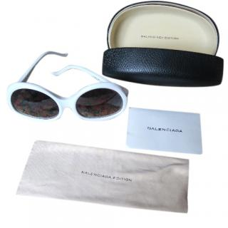 Balenciaga Oversized White Frames Quirky Statement Sunglasses