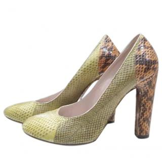 Chloe green and orange python heels