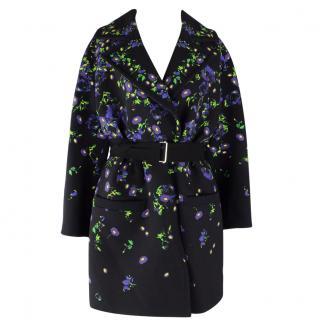 Erdem Green Black And Multicolour Floral Coat UK 8