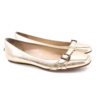 Jimmy Choo Gold Leather Flats