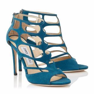 Jimmy Choo Blue REN 100 Suede Sandals UK 4.5