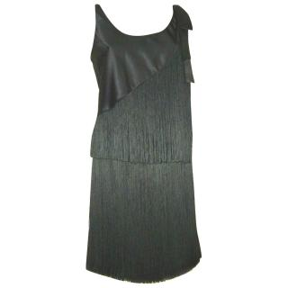 EMPORIO ARMANI black fringed 2 piece dress, size 46