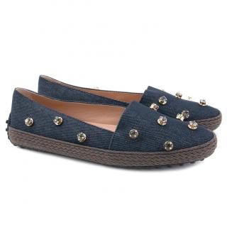 Tod's Navy Jewelled Espadrille Loafers