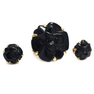 Chanel Camellia Ring And Earrings Set