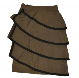 Gianni Versace Brown Cotton Ruffle Skirt
