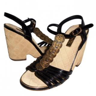 Chanel black leather coin trim wedge sandals