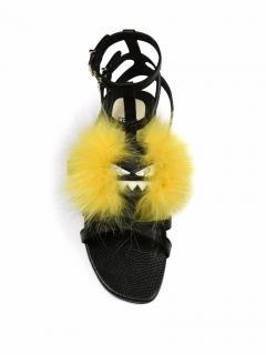 Fendi Women's Bag Bugs Fox-fur Embellished Leather Sandals