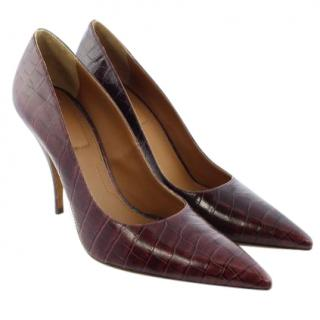 Givenchy heels in burgundy croc-effect leather