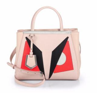 Fendi 2Jours Monster Petite Leather Tote Bag
