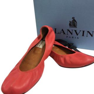 Lanvin Coral Leather Ballet Flats.