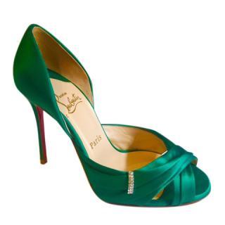 Christian Louboutin Orsay Green Satin Sandals