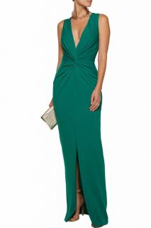 Badgley Mischka Gathered Stretch-Cady Dress
