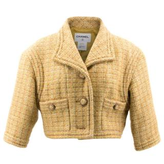 Chanel Mustard Tweed Cropped Jacket
