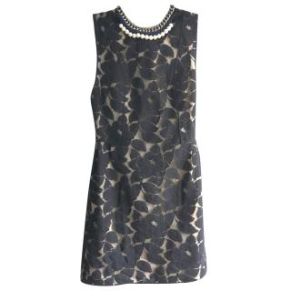 3.1 Phillip Lim Black Lace Dress with Pearl & Silver Chain Neckline