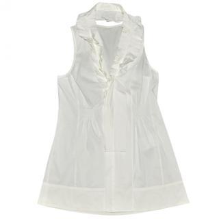 Marc Cain White Ruffle Cotton Blouse size N2