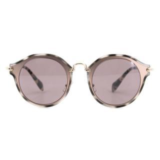 Miu Miu Brown Round Sunglasses