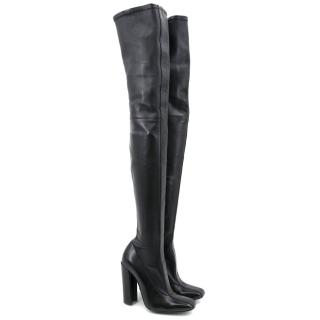 Mila Schon Black Leather Over The Knee Boots
