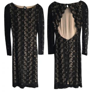 Alice + Olivia Black Lace Open Back Dress