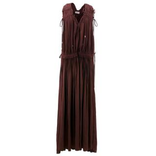 Lanvin Maroon Gathered Maxi Dress