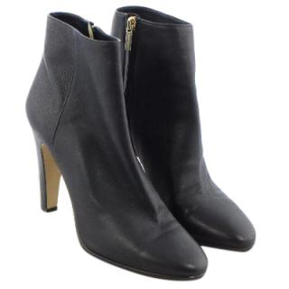 Jimmy Choo Black Grainy Calf Leather Ankle Boots