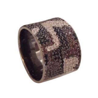 APM Monaco Silver Gold & Black Medium Ring - Rare design Size M