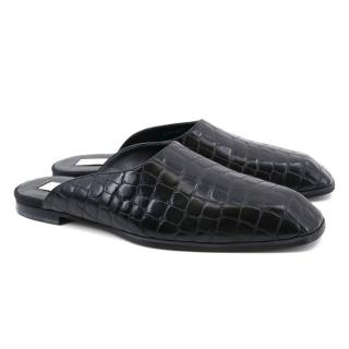 Stella McCartney Black Crocodile Embossed Mules