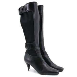 Prada Black Leather Heeled Boots