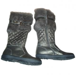 MISS BLUMARINE tall leather boots with natural fur, size 35