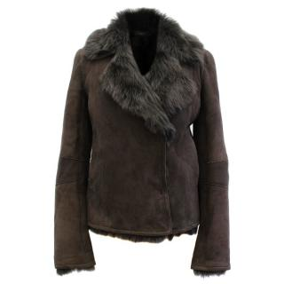 Joseph Anais Brown Lamb Fur Jacket