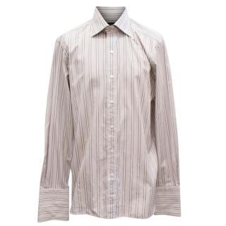 Tom Ford Brown and White Striped Shirt