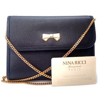 NINA RICCI Vintage Black Leather Shoulder Bag / Clutch.