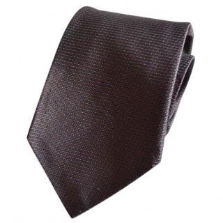 LANVIN brown silk tie