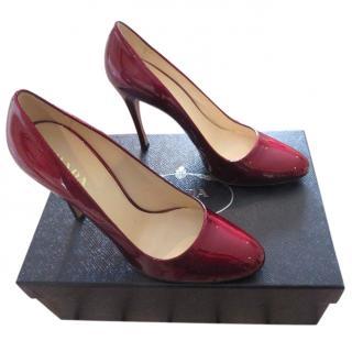 Prada Metallic Bordeaux heeled pumps
