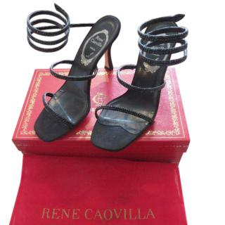 Rene Caovilla black satin and rhinestone sandals
