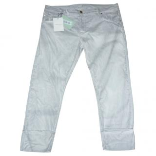 Pierre Balmain Cropped Marble Effect Jeans