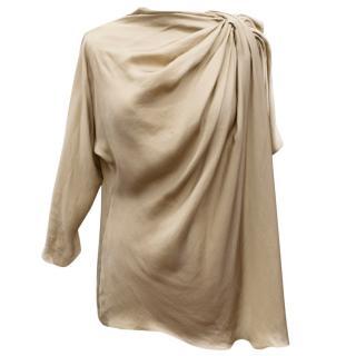 Lanvin Beige Long Sleeve Silk Blouse