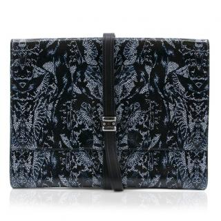 Alexander McQueen Black and Blue Patterned Large Clutch