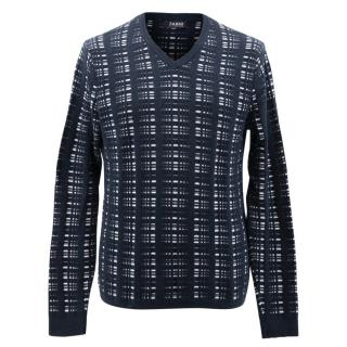 Farhi Men's Navy and White Patterned Jumper