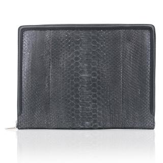 Alexander McQueen Grey Snakeskin Document Holder