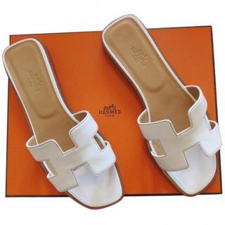 Hermes Oran white sandals